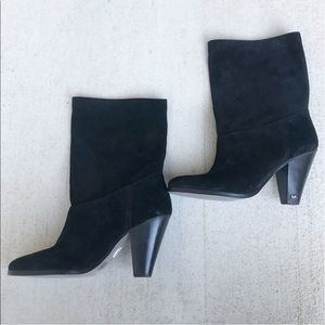 💚Michael Kors black suede heeled boots 6.5
